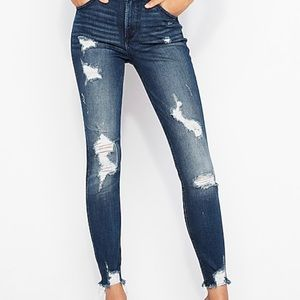 Express Jeans - High Waisted Denim Ripped Ankle Skinny Jeans